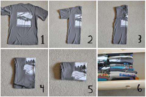 Как сложить футболки в комод