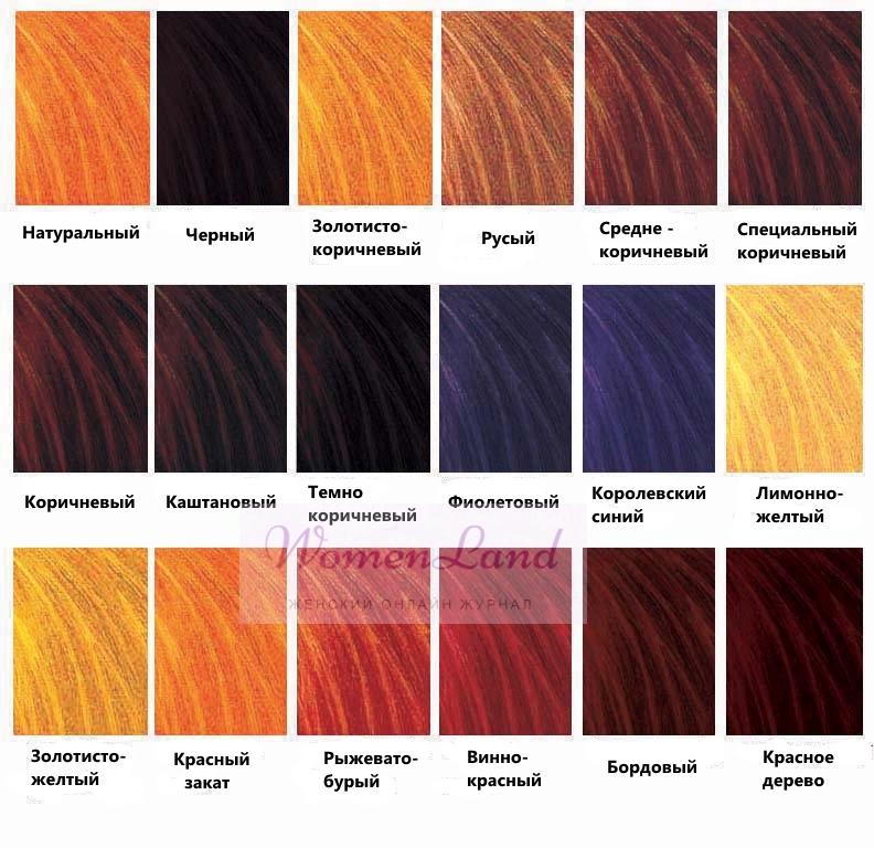 Каких цветов бывает хна для волос?